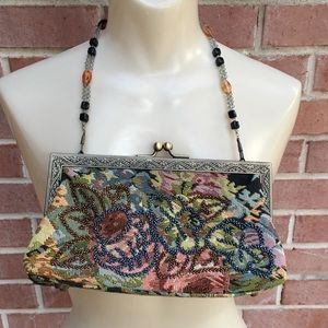 Bead Strap Embellished Tapestry Kiss Lock Purse